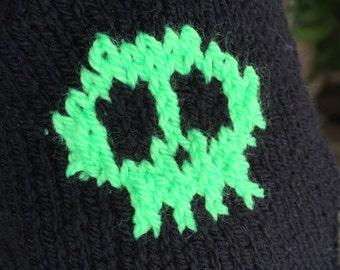 Black handwarmers, black fingerless gloves, with fluorescent skull design
