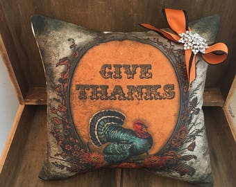 Give thanks 14x14 inch pillow
