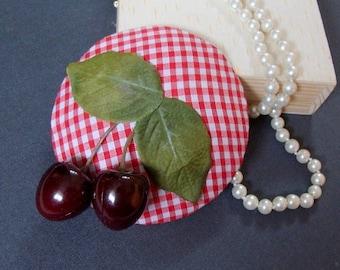 fascinator cherries & vichy