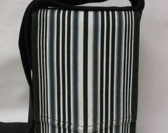 Black & White Stripe Canvas Mini Messenger Bag