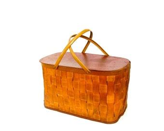 Vintage Picnic Basket Woven Wood Splint Lunch Hamper Storage Bin Mustard Gold Metal Handles