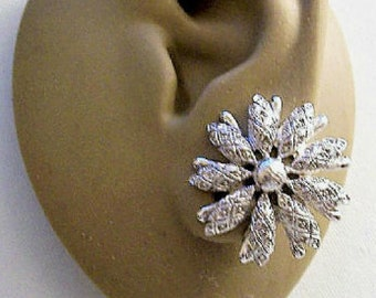 Monet Flower Starburst Clip On Earrings Silver Tone Vintage PATD 1950s Diamond Accent Layered Tube Petals Round Top Bead