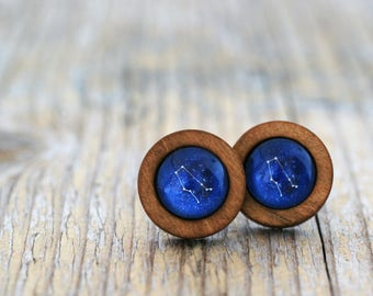Gemini Earrings, Gemini Constellation, Zodiac Earrings, Gemini Zodiac Earrings, Constellation Earrings, Wooden Earrings, Celestial Zodiac