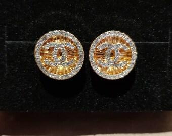 Gold & Diamante Earrings