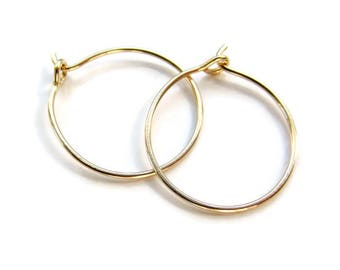 "Clearance Sale Nickel Free Gold Hoop Earrings Gold filled Hoops for Sensitive Ear Lobe, Size 3/4"", One Pair"