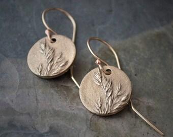 Bronze Earrings, Kentucky Bluegrass Earrings, Dangle Earrings, Plant Earrings, Prairie Grass Earrings, Botanical Earrings, Nature Earrings