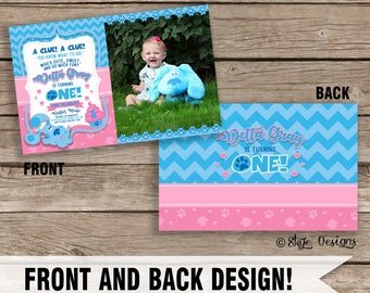 Custom Girls First Birthday Blue's Clues Birthday Invitation [Front & Back Design]