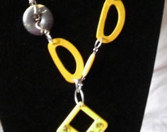 Yellow Chunky Necklace and Earring Set