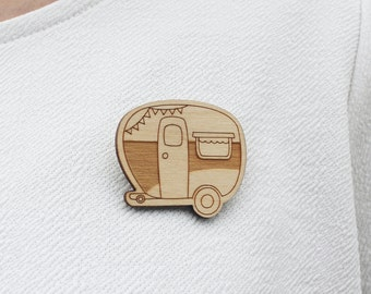 Laser Cut Wooden Caravan Brooch