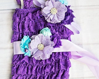Mermaid Birthday Outfit, First Birthday Outfit, Cake Smash Outfit, Lace Romper, Lace Petti Romper, Newborn Romper,Second Birthday Outfit