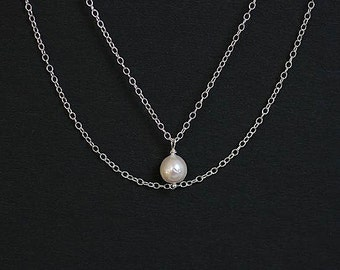 Salt Water Organic Baroque Pearl Sterling Silver Charm Layering Necklace Sustainable Best Gift For Her