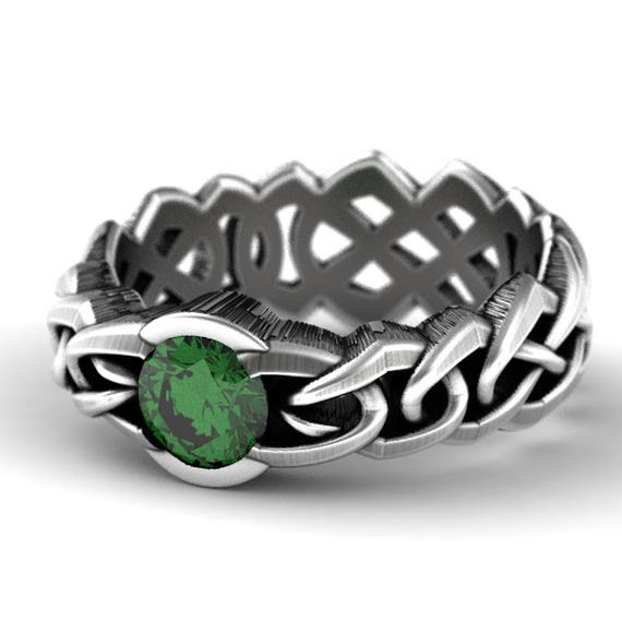 Celtic Engagement Ring Cut-Through Knot Design in Sterling Silver with Emerald, Made in Your Size CR-1066c