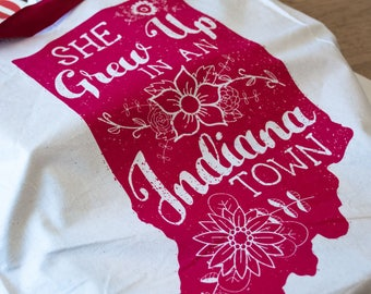 She grew Up in an Indiana Town Tote Bag. Hoosier Pride Market Tote. Tom Petty Inspired. Last Dance with Mary Jane. Indiana Girls