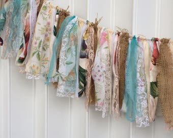 shabby fabric banner, shabby bunting, turquoise wedding, photo prop banner, rag garland, burlap swag, 6 feet