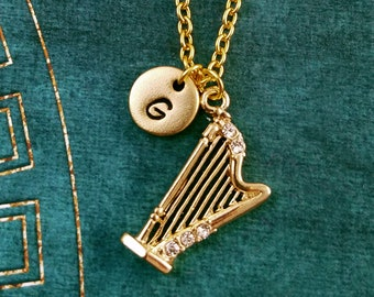 Harp Necklace SMALL Harp Charm Necklace Harp Pendant Rhinestone Harp Jewelry Harpist Gift Music Jewelry Initial Necklace Bridesmaid Necklace