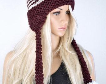 Hat, Knit hat, Chullo, Ear Flap Hat, Pom Pom Hat, Winter Hat, Handmade Hat, Chullo Hat, Burgundy Earflap, Wool Hat, 2 Colour Earflap