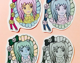 Pastel girl stickers, kawaii girl stickers for planners, journaling stickers,pastel fauxdori stickers,feminist girl journal, midori stickers