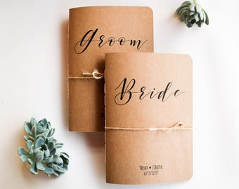 Vow Books // Set of Two Personalised 'Bride and Groom' Vow Booklets // Custom Name & Date // His and Her Vows // Kraft // Rustic Wedding
