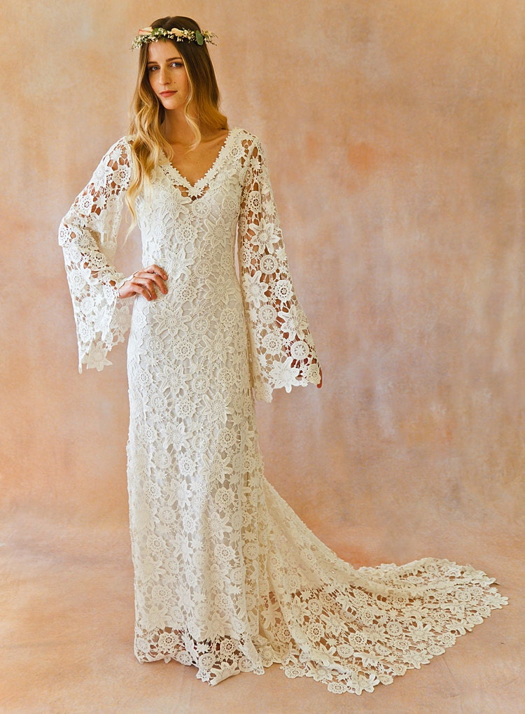 BOHO WEDDING DRESS. Bell Sleeve Simple Crochet Lace Bohemian