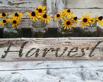 Harvest - White - Rustic Wooden Box- Centerpiece- Table decor'-Fixer Upper farm  table decor'-Rustic wooden display- Wedding Display