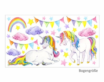 072 Wall Decals Unicorn coloured pennant