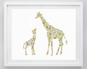 Mamma and Baby Giraffe Floral Watercolor Art Print
