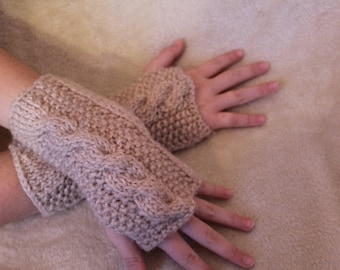 Hand-Knit Chunky Cable Wristwarmers