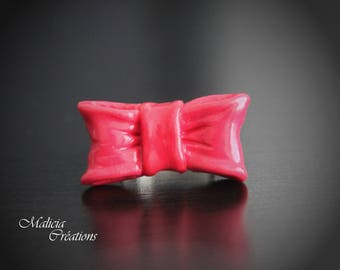 Ring fimo clay pink bow