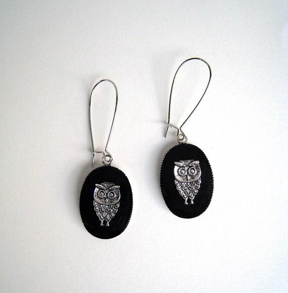 Owl earrings, black earrings, boho chic jewelry, black resin earrings, greek minimalist jewelry, teacher jewelry, graduation gift