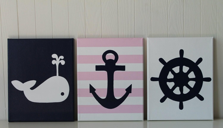 Curtains For Baby Girl Nursery: Baby Girl Nautical Nursery Decor Whale Nursery Painting Anchor