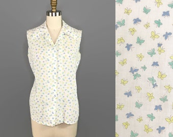 1950s Butterfly Print Blouse / 50s Sleeveless Novelty Print Shirt / Vintage Button Up Collared Blouse
