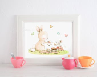 "Nursery print ""TEA PARTY"" Children's Print, Nursery art, Mouse and Bunny, Woodland nursery art, whimsical kids art, Girls art, Aida Zamora."