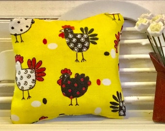 Dollhouse Miniature Yellow Chicken/Rooster Pillow 1:12 Scale