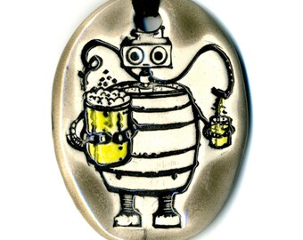 Beer Bot Ceramic Necklace