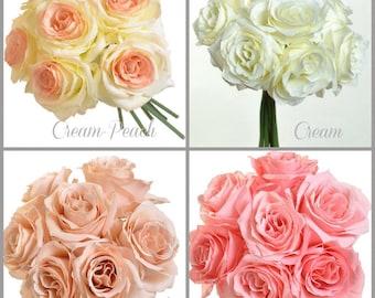 Open Rose Silk Wedding Flower Bouquet