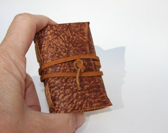 Wee Mini Notebook - Handmade - Animal Print Leather - Stocking Stuffer