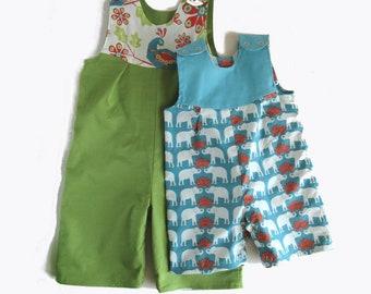 Reversible baby romper shorts organic baby romper 0-2 years  baby elephant, peacock, dungarees baby boy, baby girl birthday gift