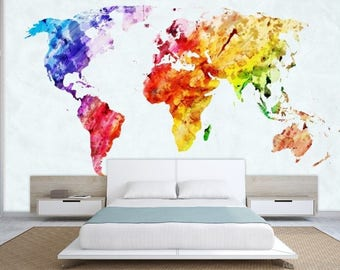 World map wall mural painting map wallpaper colorful world world map wall mural painting map wallpaper colorful world map self adhesive gumiabroncs Image collections