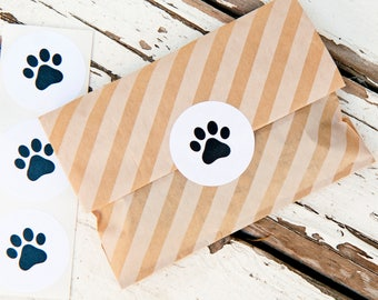 SALE Medium Paw Sticker Seals - Easy Peel Wedding Favor Bag or Envelope Accessory - Dog Paw Favors - 24 Stickers