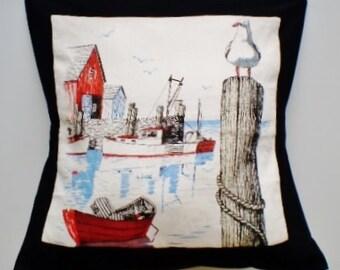 Pillow,  Black cushion, Retro cushion, size 20 inches square, Lounge cushion, Home decor cushion