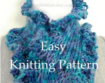 DIY Scarf Tutorial Knitting Pattern Scarflett Pattern Easy Beginner Knitting Ruffle Edge Scarf Sell What You Make Instant Download PDF File