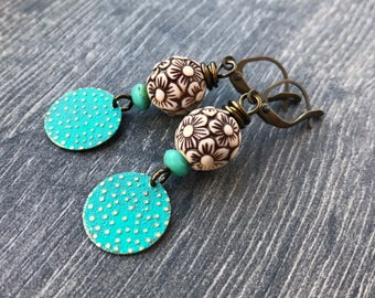 Verdigris Patina Earrings. Brass Earrings. Lightweight Earrings. Aqua Turquoise Earrings. Lightweight Floral Earrings. Verdigris Jewelry