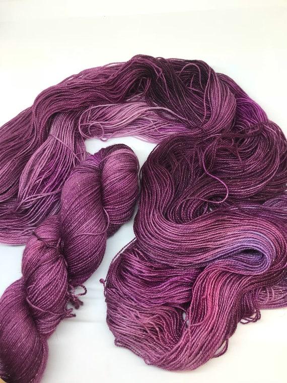 Malbec - 100g Superwash Merino / Nylon / Gold Stellina Sparkle Sock Yarn 4 ply, fingering, hand dyed, burgandy, wine, purple