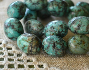 African Turquoise Jasper 21 - 30mm Large Nugget Natural Gemstone Beads 16-inch Strand