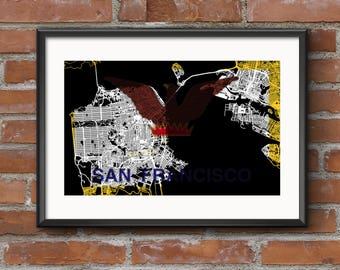 San Francisco Map Art Print – Flag / San Francisco Map | San Francisco Art | San Francisco Print | San Fran Map | SF Map | Bay Area Map