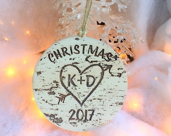 Christmas Ornament, Handmade Ornament, Custom Ornament, Heart and Arrow, Birch Tree