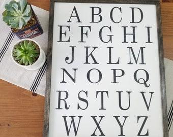 Alphabet Sign | ABC Wall Art | Alphabet Wall Art | Playroom Sign | Nursery Sign | Office Wall Art | Framed Wood Sign | Uppercase Letters