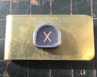 X typewriter key money clip