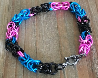 Electric Blue, Hot Pink and Black Chain Maille Bracelet