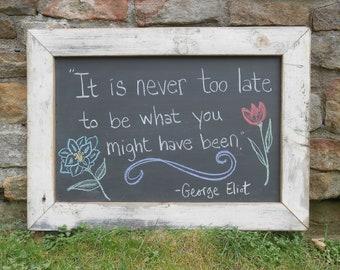 "Large Real Slate Chalkboard in Reclaimed Wood Rustic White  Frame 28 x 20 1/4"" Blackboard Sign Menu Board Wedding Decor Teacher Gift"